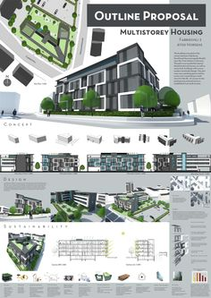 This is the first page from the Outline Proposal for the Sem project. We had to design a energy efficient and affordable multistory building, with Multistorey Housing - Page 1 Concept Board Architecture, Architecture Presentation Board, Architecture Panel, Miami Architecture, Architecture Posters, Drawing Architecture, School Architecture, Architecture Design, Interior Design Presentation