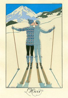 George Barbier is considered one of the finest illustrators in the Art Deco genre. Barbier was successful in a multitude of visual disciplines, including fashion illustration and advertising graphics, as well as poster, textile and wallpaper . Ski Vintage, Posters Vintage, Retro Poster, 3 Canvas Art, Artist Canvas, Art Deco, Art Nouveau, Illustrations, Illustration Art