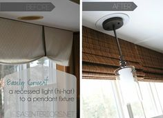 Convert Can Light To Pendant Easily And Inexpensively Convert A Recessed Light To A Hanging