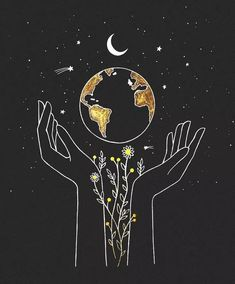 the earth is in our hands 🌻 commission artwork for — would love to do more custom drawing for you all! send me a DM, let's… Inspiration Art, Art Inspo, Journal Inspiration, Art Sketches, Art Drawings, Drawing On Wall, Dream Drawing, Drawing Wallpaper, Drawing Quotes
