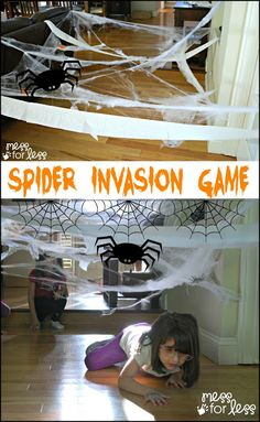 This following is a sponsored post. All opinions are my own.Here is a fun Spider Invasion Halloween Game I set up for my kids. This time of year, kids love creepy, crawly fun and this game will get kids moving and working together to accomplish a task. As they duck under and through spider webs, …