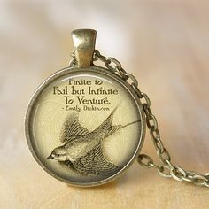 EMILY DICKINSON Necklace Quote Pendant Romantic Poem Emily Dickinson Glass Pendant Jewerly Handmade Necklace American Poet