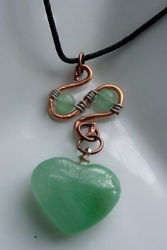 Green Aventurine Wire Wrapped Heart Pendant, Copper wire wrapped by CherylsHealingGems, $12.00