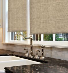 Simply Chic Roller Shade: Textures shown in Papyrus Soothing Tan $84.  Blinds