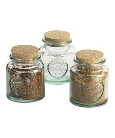 17.  From mustard to mustard seed, these condiment jars keep contents fresh and easily accessible. The sturdy construction and vintage-inspired design make them a chic addition to any pantry or cabinet.Includes three jars and stoppers3.25'' H x 3.5'' diameterHolds 7 oz.Recycled glass<...