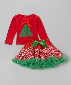 $26.99 marked down from $60!!! Red & Green Christmas Top & Pettiskirt - Infant & Girls #red #green #dots #christmas #skirt #tutu #sale #baby #girl #girls #zulily #zulilyfinds