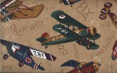 VINTAGE AIRPLANE Fabric - Antique Aircraft Flying Machines - Cranston VIP Cotton. $5.00, via Etsy.