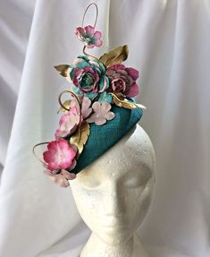 Vintage hat pink retro daisy hat tulle netting bow flowers 60/'s hat bridal Mother of Bride Maid of honor Derby hat Easter fascinator wedding
