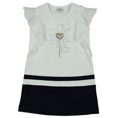Monnalisa Girl's White Dress with Daisy Print Stripe Detailing. Available now at www.chocolateclothing.co.uk #childrenswear #minifashion #Monnalisa #chocolateclothing
