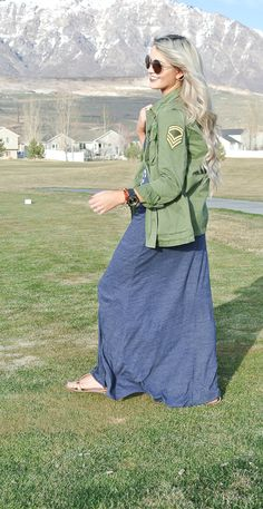 maxi with army jacket