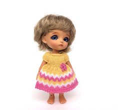 Miniature hand-knitted yellow-pink dress for Lati White doll/Doll clothes