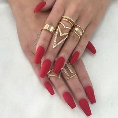 Red Matte Coffin Nails and the jewelry