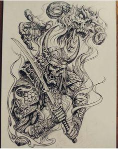 New Design Tattoo Sketch Ideas Sketch Tattoo Design, Tattoo Sleeve Designs, Tattoo Sketches, Tattoo Drawings, Sleeve Tattoos, Japan Tattoo Design, Sketch Art, Black Ink Tattoos, Skull Tattoos