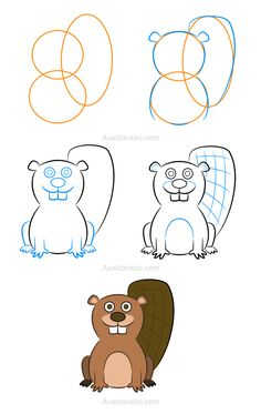 Learn To Draw How to draw a beaver - Comment dessiner un castor Art Drawings For Kids, Disney Drawings, Drawing For Kids, Cartoon Drawings, Animal Drawings, Easy Drawings, Drawing Skills, Drawing Lessons, Drawing Techniques
