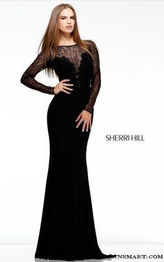 Lacy Long Sleeve Sherri Hill 4309 Black Prom Dress