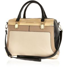 River Island Light beige colour block bowler bag (€54) ❤ liked on Polyvore featuring bags, handbags, sacs, bowler handbag, river island purse, bowler purse, vegan purses and color block handbag
