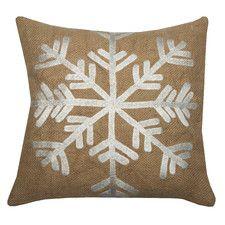 Snowflake Jute Throw Pillow