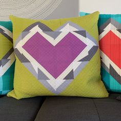 sew katie did Quilting 101, Quilting Designs, Modern Quilting, Quilting Ideas, Crumb Quilt, Foundation Piecing, Heart Pillow, Half Square Triangles, Sewing Studio