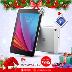 """Huawei MediaPad T1 7.0 - Vibrant colors. Beautifully displayed. * Screen Size: 7"""" * Network: 3G / WiFi * OS: Android 4.4 ( KitKat ) * CPU: Quad-core 2.1 GHz * Memory: Internal: 8GB, 1GB RAM External: microSD, up to 32 GB (dedicated slot) * Camera: Front: 2 MP Rear: 2 MP * Battery: Non-removable Li-Ion 4100 mAh"""