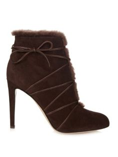 Lace-up shearling ankle boots  | Gianvito Rossi | MATCHESFASHION.COM US