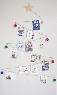 A simple way to display your holiday cards - you can make this tree as large as you want! || Found on designimprovised.com