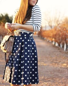 Stripes and polka dots: these two patterns kind of clash, but they are kind of cute together!