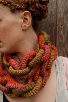 Harvest Hoop-la Crochet Scarf от Jesuisunemonstre на Etsy