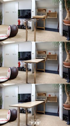 Arrangement made-to-measure wooden folding dining table small space / studio. Dining Table Small Space, Bedroom Furniture Design, Beautiful Kitchens, Home Organization, Small Spaces, Sweet Home, Studio, House, Dinner