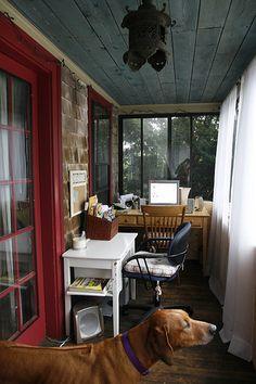 Cottage porch office.