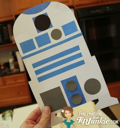 Star Wars R2-D2 Robot Paper Craft  {printable} Great Craft, the entire family *(including me) made their very own R2 Unit. Fun!  We had a lot of fun making these, and it would be a great birthday party activity. Hardest part (not hard at all) was cutting out the shapes.