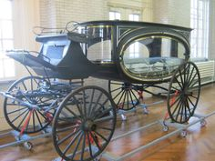 Funeral Carriage  Hearses go back centuries as a form to carry a casket from funeral to burial site. Up until the mid 1800's, most casket were just placed in the back of a horse trailor and transported. In the mid to late 1800s, hearses became more elaborate. This horse drawn funeral carriage was used in the early 1900s.