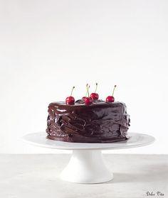 Decadently fabulous Chocolate, Hazelnut, Marzipan Sponge Cake with Cherries. Could do plain choc cake - looks fab.