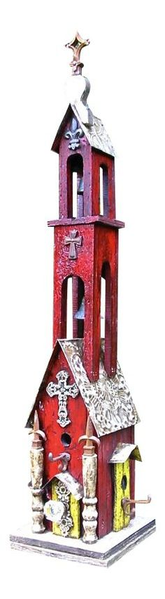Tall Double Bell Church Birdhouse