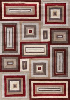Mansoori Textured Red Squares Area Rug