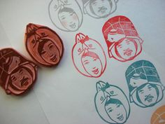 custom portrait hand carved stamp | by DearYouFromKozue
