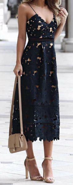 summer outfits  Black Crochet Dress + Beige Sandals
