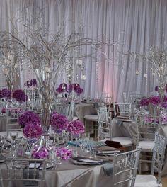 decoration de table gris argent violet branchage argent guirlande cristaux