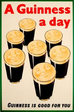 Guinness A Day Good For You 1938 - original vintage poster listed on AntikBar.co.uk