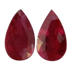 0.57 ct Pair of Pear Shape Rubies Fine Red -Gold Crane & Co.