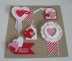 handmade card candy (aka embellishments) ... five different valentine tops in red and white ... each has a heart and patterned paper, but all are quiet different ... lovely! ... Stampin' Up!