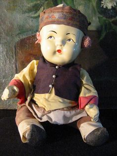 Composition Chinese Doll Tribal Art In Glass Shadow Box From Early 192 – Designer Unique Finds