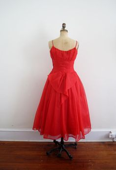 1950s party dress /  vintage dress / red by TheChurchofVintage, $125.00