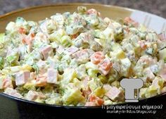 I love this salad. It is one of the best Russian dishes ever. I love this salad. It is one of the best Russian dishes ever. Russian Salad Recipe, Russian Potato Salad, Russian Dishes, Russian Recipes, Olivier Salad, Salad Dishes, Ceviche, Greek Recipes, Mayonnaise