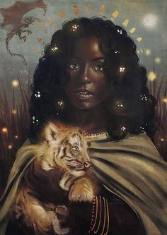 — sheep-in-clouds: The Dragon Whisperer Black Love Art, Black Girl Art, Art Girl, African American Art, African Art, Dope Kunst, Black Girl Cartoon, Black Art Pictures, Goddess Art
