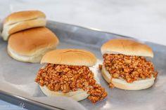 Budget Friendly Sloppy Joes Chicken Sloppy Joe Recipe, Sloppy Joes Recipe, Kids Meals, Easy Meals, Sloppy Joe Sauce, Ground Chicken Recipes, Burger Buns, One Pan Meals