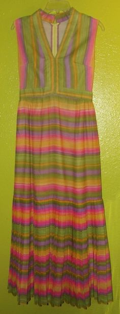 VINTAGE 1960's Long Multi Colored Bright Long Maxi Dress sz S Small Lined #Maxi