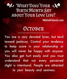 What does your Birth Month say about your Love Life? - Born in October
