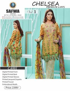Safwa Brand - Price PKR2399.00 only - Free Delivery! - Cash on Delivery - 30 Days Returns - CA-001 - CHELSEA COLLECTION - 3 PIECE SUIT  #ladiesclothing #digital #shalwarkameez #clothing #shoponline #pakistani #brand #onlineshopping #safwa #dresses