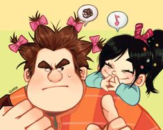 Vanellope & Ralph - Wreck-It-Ralph Disney Pixar, Disney Fan Art, Disney Animation, Animation Film, Disney And Dreamworks, Disney Magic, Disney Characters, Ralph Disney, Vanellope Y Ralph