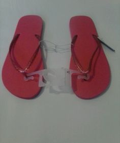 4 Pairs of Women's Basic Pink Flip Flops size 12